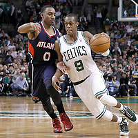 10 May 2012: Boston Celtics point guard Rajon Rondo (9) drives past Atlanta Hawks point guard Jeff Teague (0) during the Boston Celtics 83-80 victory over the Atlanta Hawks, in Game 6 of the Eastern Conference first-round playoff series, at the TD Banknorth Garden, Boston, Massachusetts, USA.