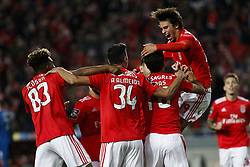 November 2, 2018 - Lisbon, Portugal - Jonas of Benfica (2nd R) celebrates his goal with Joao Felix of Benfica (R), Gedson Fernandes of Benfica (L) and Andre Almeida of Benfica (2nd L)  during the Portuguese League football match between SL Benfica and Moreirense FC at Luz Stadium in Lisbon on November 2, 2018. (Credit Image: © Carlos Palma/NurPhoto via ZUMA Press)