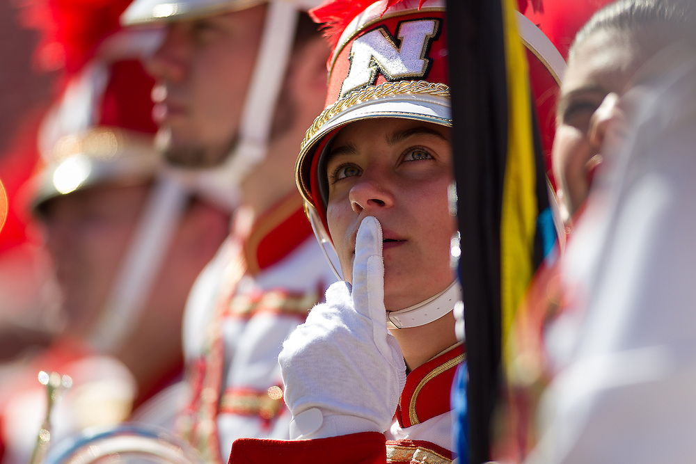 September 26, 2015: Nebraska band member waiting to perform before the game against the Southern Miss Golden Eagles at Memorial Stadium in Lincoln, Nebraska.  Nebraska 36 Southern Miss 28.