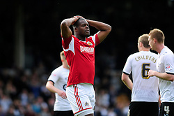 Bristol City's Marlon Harewood cuts a dejected figure after Bristol City concede a late goal in the last minute, preventing Bristol City winning their first game in the league - Photo mandatory by-line: Dougie Allward/JMP - Tel: Mobile: 07966 386802 05/10/2013 - SPORT - FOOTBALL - Vale Park - Stoke-on-Trent - Port Vale V Bristol City - Sky Bet League 1