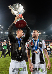 09.05.2018, Woerthersee Stadion, Klagenfurt, AUT, OeFB Uniqa Cup, SK Puntigamer Sturm Graz vs FC Red Bull Salzburg, Finale, im Bild Thorsten Röcher (SK Puntigamer Sturm Graz), Jakob Jantscher (SK Puntigamer Sturm Graz) // during the final match of the ÖFB Uniqa Cup between SK Puntigamer Sturm Graz and FC Red Bull Salzburg at the Woerthersee Stadion in Klagenfurt, Austria on 2018/05/09. EXPA Pictures © 2018, PhotoCredit: EXPA/ Johann Groder