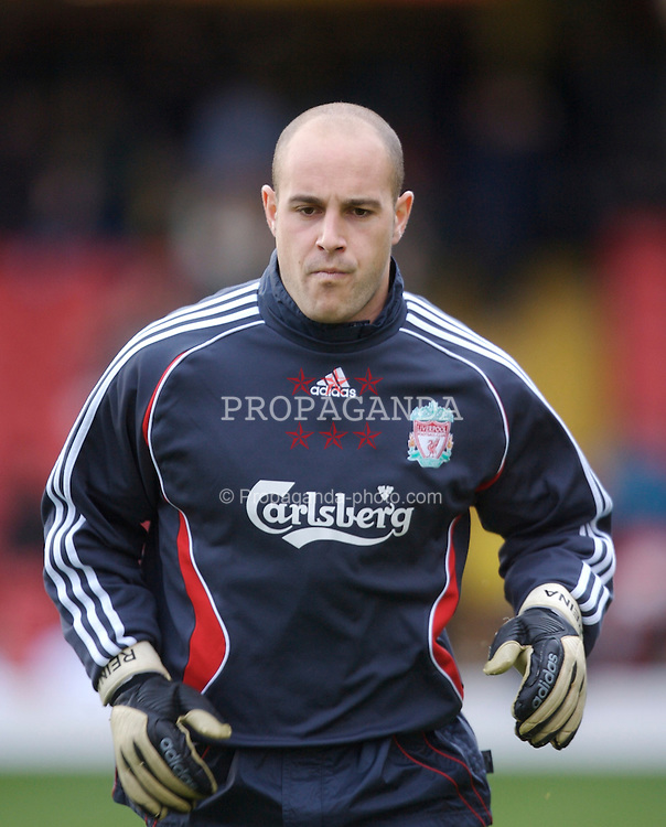 Watford, England - Saturday, January 13, 2007: Liverpool's goalkeeper Jose Reina warms-up before the Premiership match against Watford at Vicarage Road. (Pic by David Rawcliffe/Propaganda)