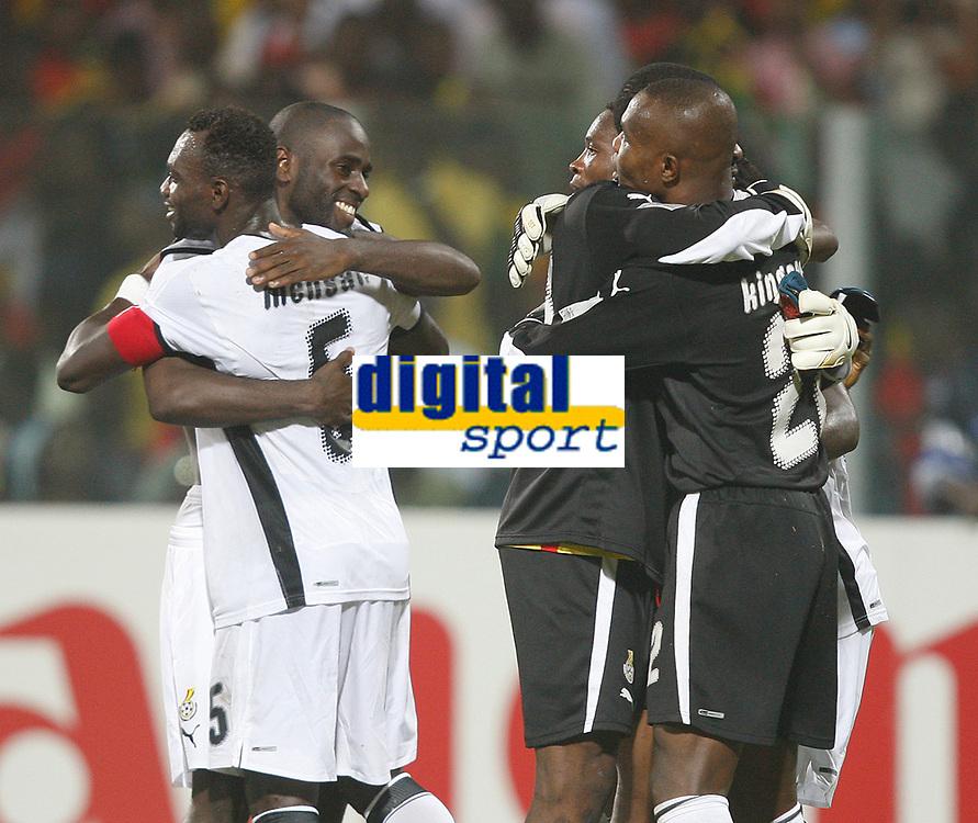 Photo: Steve Bond/Richard Lane Photography.<br />Ghana v Morocco. Africa Cup of Nations. 28/01/2008. Ghana celebrate qualification