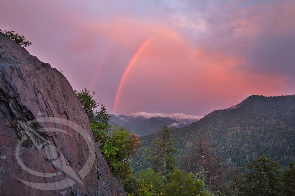 As the sunset over the Smoky Mountains lit up the west with a bright sky, the east yielded a fabulous rainbow at the trail end of a passing storm.