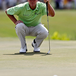 Apr 29, 2012; Avondale, LA, USA; Steve Stricker lines up a putt on the ninth hole during the final round of the Zurich Classic of New Orleans at TPC Louisiana. Mandatory Credit: Derick E. Hingle-US PRESSWIRE