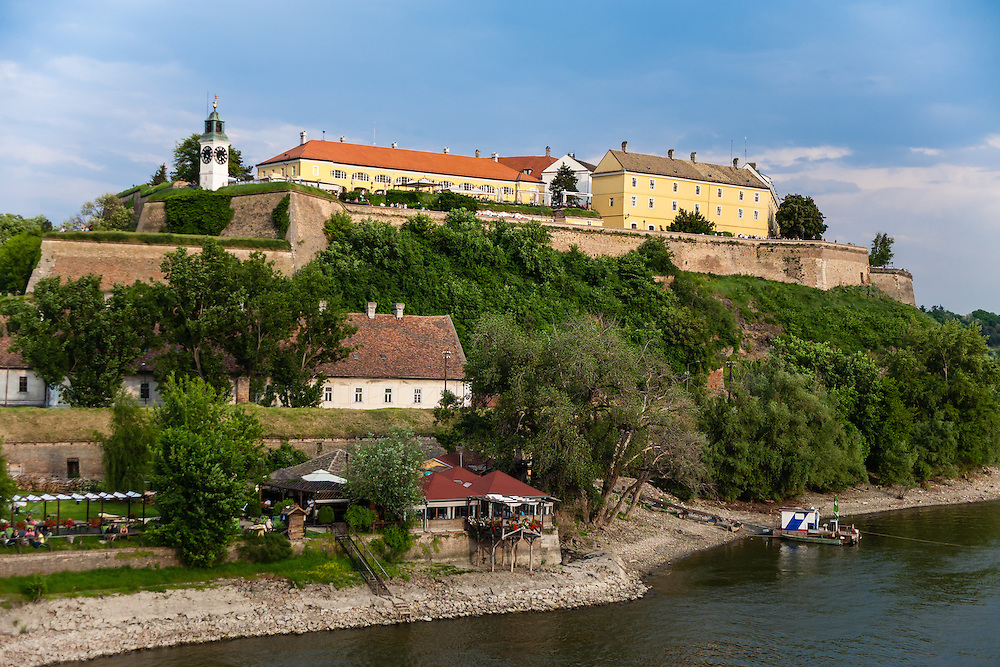 The Petrovaradin Fortress sits above the Danube River across from Novi Sad, Serbia.