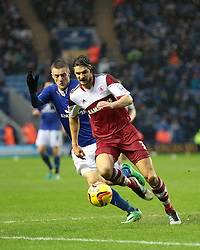 Middlesbrough's George Friend is shadowed by Leicester City's Jamie Vardy - Photo mandatory by-line: Nigel Pitts-Drake/JMP - Tel: Mobile: 07966 386802 25/01/2014 - SPORT - FOOTBALL - King Power Stadium - Leicester - Leicester City v Middlesbrough - Sky Bet Championship