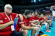 Katowice, Poland - 2017 September 01: (L) Famous trainer coach Waldemar Wspanialy attend in All Stars Game while Opening Ceremony during European Unified Volleyball Tournament 2017 at Spodek Hall on September 01, 2017 in Katowice, Poland.<br /> <br /> Adam Nurkiewicz declares that he has no rights to the image of people at the photographs of his authorship.<br /> <br /> Picture also available in RAW (NEF) or TIFF format on special request.<br /> <br /> Any editorial, commercial or promotional use requires written permission from the author of image.<br /> <br /> Image can be used in the press when the method of use and the signature does not hurt people on the picture.<br /> <br /> Mandatory credit:<br /> Photo by &copy; Adam Nurkiewicz / Mediasport