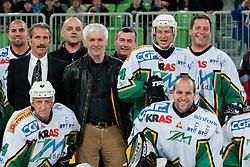 Players of Olimpija during ice-hockey friendly match between legends of HDD Tilia Olimpija and HK Acroni Jesenice, on April 14, 2012 at SRC Stozice, Ljubljana, Slovenia. (Photo By Matic Klansek Velej / Sportida.com)