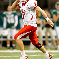 November 10, 2011; New Orleans, LA, USA; Houston Cougars quarterback Case Keenum (7) celebrates a touchdown against the Tulane Green Wave during the second half at the Mercedes-Benz Superdome.  Houston defeated Tulane 73-17. Mandatory Credit: Derick E. Hingle-US PRESSWIRE