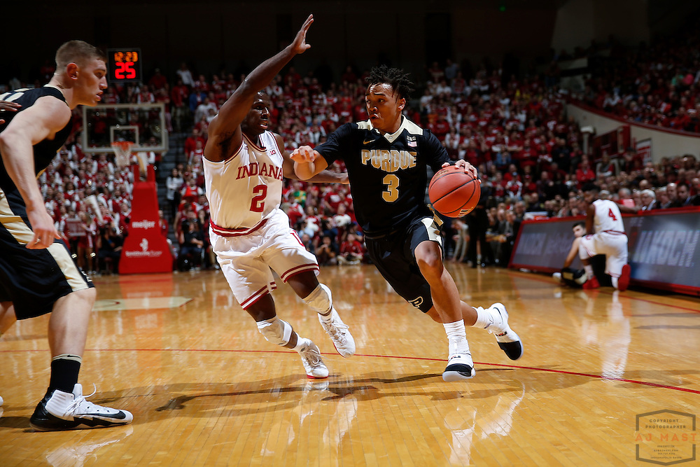 Purdue guard Carsen Edwards (3) in action as Purdue played Indiana in an NCCA college basketball game in Bloomington, Ind., Thursday, Feb. 9, 2017. (AJ Mast)