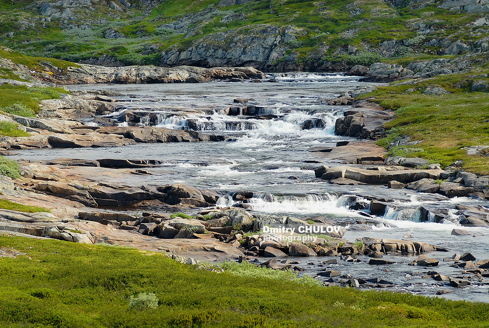 Magnificent summer landscape of the Hardangervidda mountain plateau and National park in Norway.
