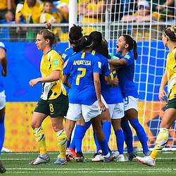 Team of Brazil celebrates his first scoring during the Women's World Cup match between Australia and Brazil at Stade de la Mosson on June 13, 2019 in Montpellier, France. (Photo by Alexandre Dimou/Icon Sport)