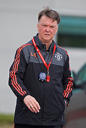 MANCHESTER, ENGLAND - Wednesday, March 16, 2016: Manchester United's manager Louis van Gaal during a training session at Carrington Training Ground ahead of the UEFA Europa League Round of 16 2nd Leg match against Liverpool. (Pic by David Rawcliffe/Propaganda)