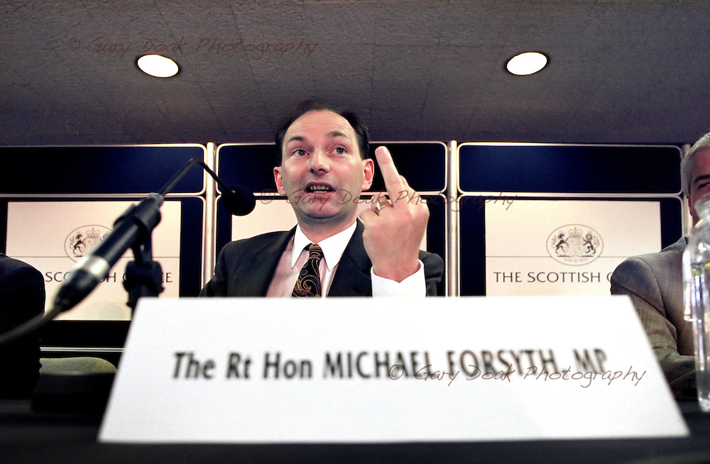 Michael Forsyth, MP on his first day in office as Secretary of State for Scotland.