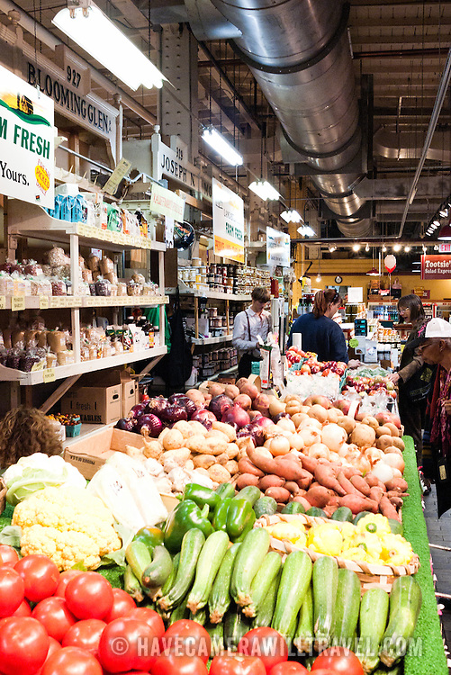 Fruit and vegetables for sale in the Reading Terminal Market in downtown Philadelphia. Many of the individual markets sell wares by the Pennsylvania Dutch of Lancaster County.