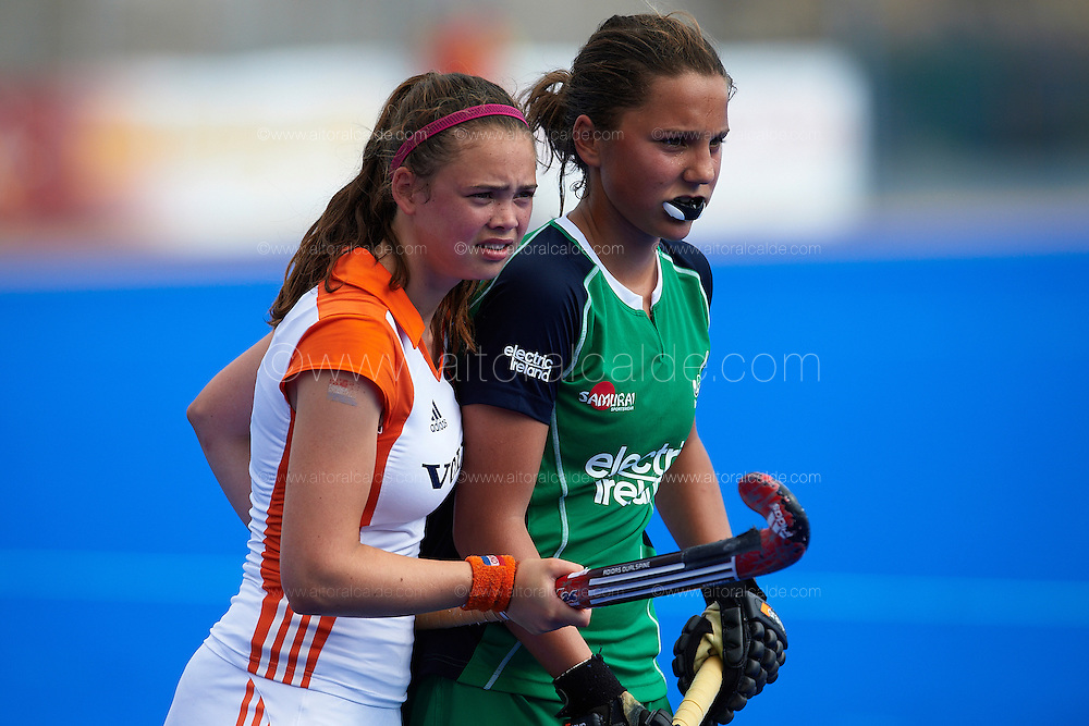VALENCIA, SPAIN - JULY 6: Eurohockey Youth Championship  under 16 girls Valencia match between   Irland and Netherlands at the verge del carmen de betero on July 6, 2012 in Valencia, Spain. (Photo by Aitor Alcalde)