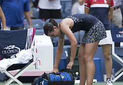 September 5, 2017 - New York, New York, United States - Anastasija SEvastova of Latvia crying after loosing against Sloane Stephens of USA at US Open Championships at Billie Jean King National Tennis Center  (Credit Image: © Lev Radin/Pacific Press via ZUMA Wire)