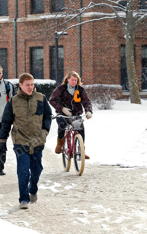 Snow falls in January 2015 on the campus of Central Michigan University in Mt Pleasant, MI.  <br /> <br /> Photo by Steve Jessmore/Central Michigan University