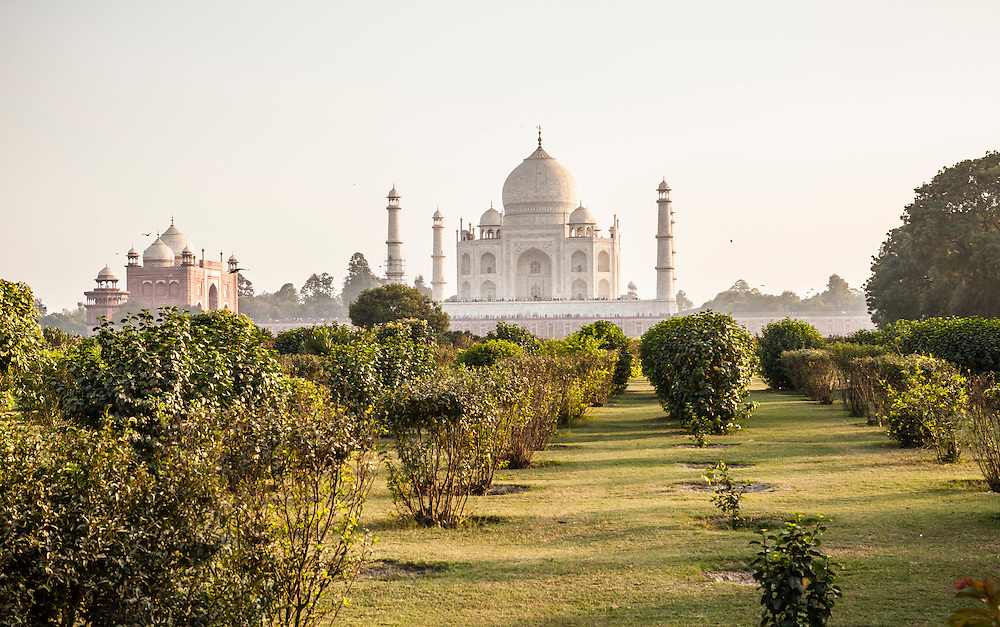 The Taj Mahal seen from the North across the Yamuna River in the afternoon, Agra, India.