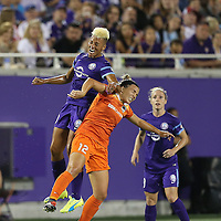 ORLANDO, FL - APRIL 23: Lianne Sanderson #10 of Orlando Pride and Amber Brooks #12 of Houston Dash fight for the ball during a NWSL soccer match at the Orlando Citrus Bowl on April 23, 2016 in Orlando, Florida. The Orlando Pride won the game 3-1.  (Photo by Alex Menendez/Getty Images) *** Local Caption ***  Lianne Sanderson; Amber Brooks