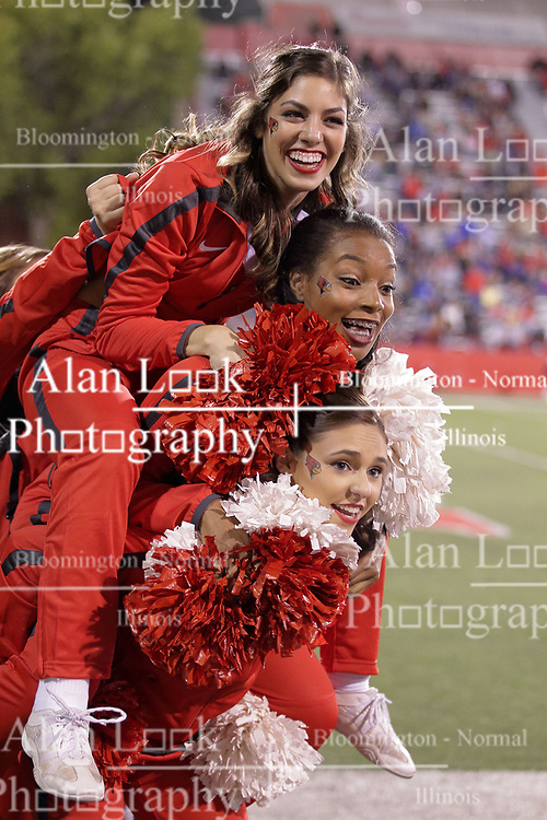 30 September 2017:   Redbird Cheeleaders have a good time on the sidelines just before the 2nd half starts during the Indiana State Sycamores at Illinois State Redbirds Football game at Hancock Stadium in Normal IL (Photo by Alan Look)