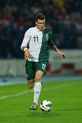OSIJEK, CROATIA - Tuesday, October 16, 2012: Wales' Gareth Bale in action against Croatia during the Brazil 2014 FIFA World Cup Qualifying Group A match at the Stadion Gradski Vrt. (Pic by David Rawcliffe/Propaganda)