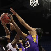 Jada Payne, (right), East Carolina, challenges for a rebound with Mama Traore, Temple, during the Temple Vs East Carolina Quarterfinal Basketball game during the American Women's College Basketball Championships 2015 at Mohegan Sun Arena, Uncasville, Connecticut, USA. 7th March 2015. Photo Tim Clayton