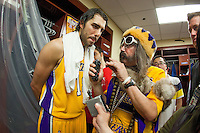 17 June 2010: Guard Sasha Vujacic of Los Angeles Lakers speaks to Vic the Brick after the Lakers defeat the Boston Celtics 83-79 and win the NBA championship in Game 7 of the NBA Finals at the STAPLES Center in Los Angeles, CA.