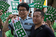 Hiroya Masuda, a major candidate for Tokyo gubernatorial election takes a picture with supporter in Ginza,Tokyo. The former internal affairs minister has the backing of the Liberal Democratic Party, Komeito and the Party for the Japanese Kokoro in the July 31 election. 18/07/2016-Tokyo, JAPAN