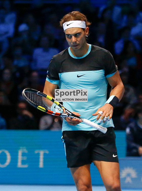 Rafael Nadal. ATP Finals 2015 at O2 Arena, London. Stanislas Wawrinka plays Rafael Nadal in their first match in the Group Ilie Nastase. 16th November 2015. (c) Matt Bristow | SportPix.org.uk
