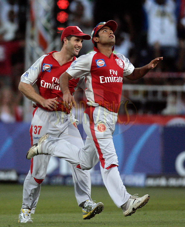 DURBAN, SOUTH AFRICA - 1 May 2009. Simon Katich and Karan Goel during the IPL Season 2 match between Kings X1 Punjab and the Royal Challengers Bangalore held at Sahara Stadium Kingsmead, Durban, South Africa..