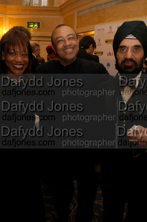 Mr. and Mrs. Paul Boateng and Dr. Kartar Lalvani. The Asian Business Awards 2005. Hilton. London. 7 April 2005. ONE TIME USE ONLY - DO NOT ARCHIVE  © Copyright Photograph by Dafydd Jones 66 Stockwell Park Rd. London SW9 0DA Tel 020 7733 0108 www.dafjones.com
