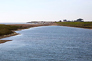 Coastal landscape North Sea coast, with lagoon and shingle bay bar  Bawdsey, Suffolk, England, UK