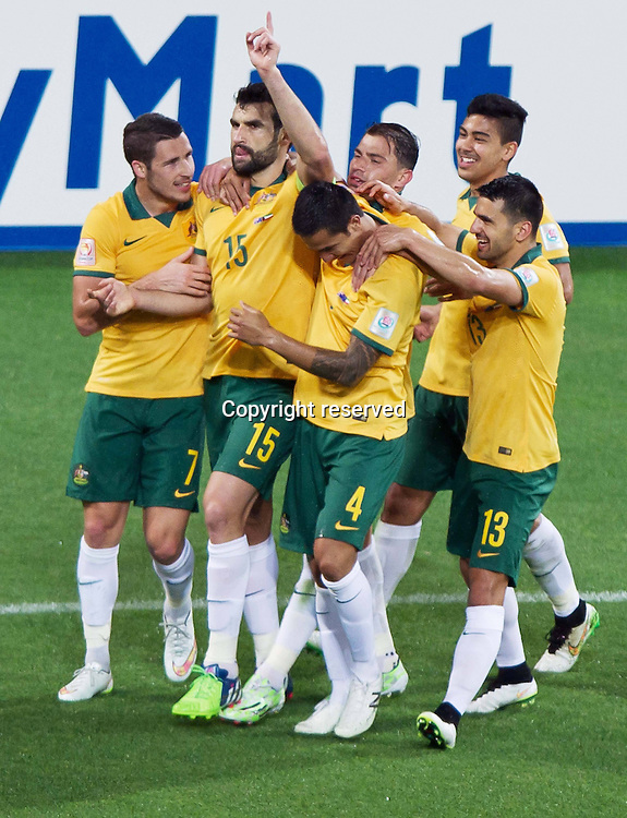 09.01.2015. Melbourne, Australia.  Mile Jedinak (L2) of Australia celebrates his goal during the opening football match against Kuwait at the AFC Asian Cup in Melbourne, Australia, January 9, 2015. Australia won 4-1.