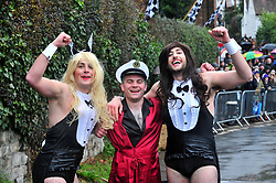 © Licensed to London News Pictures.01/01/2018<br /> SUTTON VALENCE, UK.<br /> PLAYBOY TEAMING WIN. LTR, FRED Mc VARISH,JAMES BADWICK,JOSH DAVIES.<br /> The traditional New Years day Sutton Valence Pram Race in Kent continued this year. In its 38th year the Race was struck by tragedy last year when competitor Francis 'Titch' O' Sullivan tipped over in his spitfire pram and hit his head on the curb, he passed away a day later. A coroners court reported he was not wearing a helmet.<br />  All babies in the pram's have to wear a helmet and the pushers must have contact with the pram and the ground at all times.<br />  <br /> Photo credit: Grant Falvey/LNP
