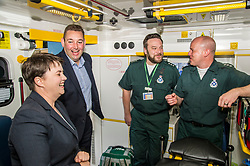 Pictured: Ruth Davidson; Richard Paton; Callum Johnston (beard) and Mike Briggs.<br /> <br /> Scottish Conservative leader Ruth Davidson, MSP,  joined shadow health secretary Miles Briggs to launch the party&rsquo;s Health Advisory Board at the Scottish ASmbulance Service Southeast Divisional HQ.  Ms Davidson and Mr Briggs were shown the equipment in the average ambulance by Richard Paton, Ambulance Service manager and Callum Johnston, Specialist medic.<br /> <br /> Ger Harley | EEm 6 September 2017