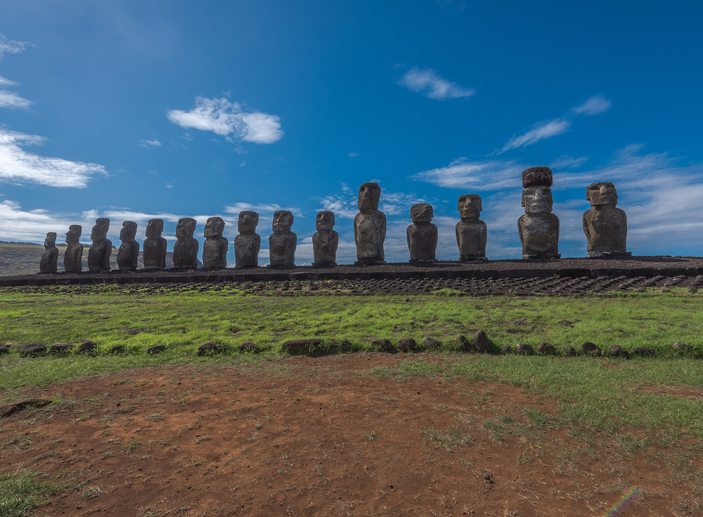 15 Moais statues lined  in a row on Easter Island in the South Pacific.