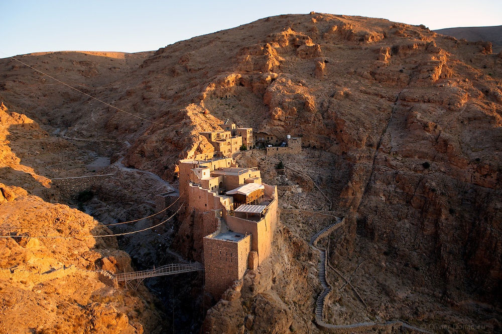 View of the Christian Monastery of Mar Musa, Syria. Vue du Monastere Chrétien de Mar Moussa, Syrie.