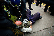 Climate change activists are being challenged by the UK police during a 24 hours mass action in front of the British Airport Association (BAA), close to Heathrow airport to protest against climate change and the expansion plans for the airport on Sunday, Aug. 19, 2007, Heathrow, England. More than 1800 police officers were deployed to counter the activists in their plan to disrupt the BAA activities on the site. Aviation is the fastest growing source of greenhouse gas emissions in the UK, and all our efforts to tackle climate change in other sectors are undone by the massive growth in air travel. Holding the camp at Heathrow aims to highlight the paradoxical government's airport expansion plans, target industry giants profiteering from the climate crisis, and raise awareness about the need to fly less. The camp also support local residents in their long-term struggle against the building of a third runway and the destruction of their communities. Heathrow, the world's busiest international airport, has been the target of Climat Camp campaing in 2007. www.climatecamp.org.uk   **Italy Out** ..