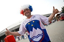 Slovenian fan outside the arena at the EuroBasket 2009, on September 16, 2009, before Arena Lodz, Hala Sportowa, Lodz, Poland.  (Photo by Vid Ponikvar / Sportida)