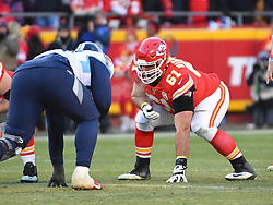 Jan 19, 2020; Kansas City, Missouri, USA; Kansas City Chiefs offensive guard Stefen Wisniewski (61) readies on the line of scrimmage during the AFC Championship Game against the Tennessee Titans at Arrowhead Stadium. Mandatory Credit: Denny Medley-USA TODAY Sports