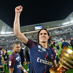 Edinson Cavani of PSG celebrates with the cup after winning the Final of the French League Cup between Paris Saint Germain (PSG) and AS Monaco on March 31, 2018 in Bordeaux, France. (Photo by Dave Winter/Icon Sport)