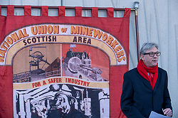 Pictured: Richard Leonard speaking at the wreath laying.<br /> <br /> Labour MSP's and National Union of Mineworkers (NUM) campaigners laid wreaths and held a short vigil outside the Scottish Parliament. Speakers included Scottish Labour leader Richard Leonard, NUM president Nicky Wilson and Mick's son, Michael MxGahey.<br /> <br /> © Dave Johnston / EEm