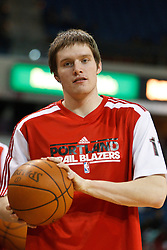 January 19, 2011; Sacramento, CA, USA;  Portland Trail Blazers small forward Luke Babbitt (11) warms up before the game against the Sacramento Kings at the ARCO Arena. Portland defeated Sacramento 94-90 in overtime.