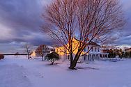 House, snow, Oregon Rd, Cutchogue. NY