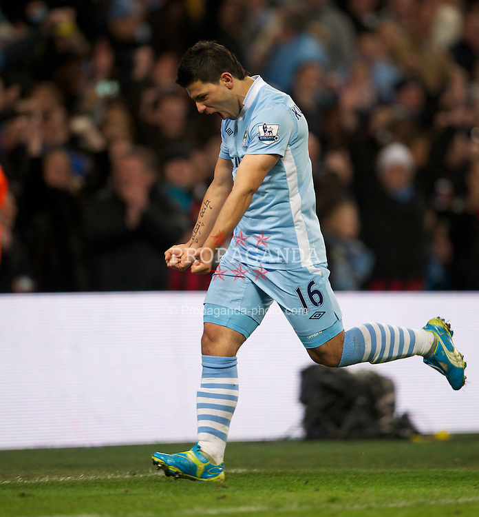 MANCHESTER, ENGLAND - Saturday, February 25, 2012: Manchester City's Sergio Aguero celebrates scoring the second goal against Blackburn Rovers during the Premiership match at City of Manchester Stadium. (Pic by David Rawcliffe/Propaganda)
