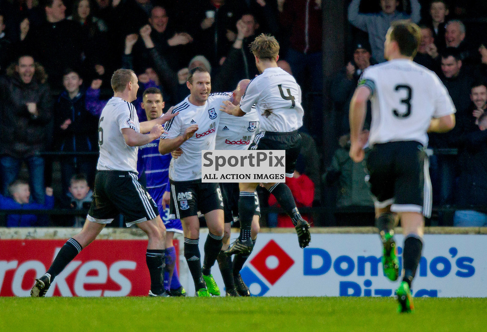 Ayr United v Dunfermline Athletic SPFL League One Season 2015/16 Somerset Park 12 December 2015<br /> Gerry McLauchlan  celebrates making it 1-1<br /> CRAIG BROWN | sportPix.org.uk