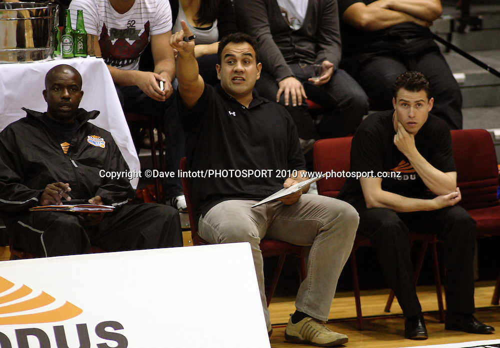 Saints coaching staff (from left): Kenny McFadden, Pero Cameron and manager Phil Hartley.<br /> NBL - Wellington Saints v Southland Sharks at TSB Bank Arena, Wellington. Thursday, 25 March 2010. Photo: Dave Lintott/PHOTOSPORT