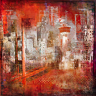 Painterly sketch of a cityscape with a bridge and TV tower in largely black and white tones on a vibrant orange background